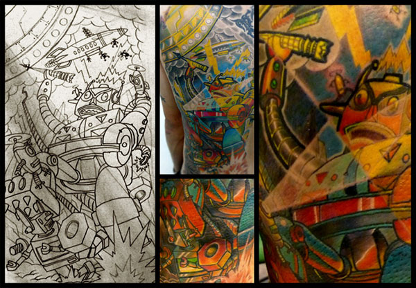 Category: tattoo art / Tag: new skool tattoo, robot tattoo, robots invasion